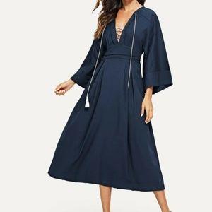 Plunging Kimono Sleeve Tassel Tie Dress